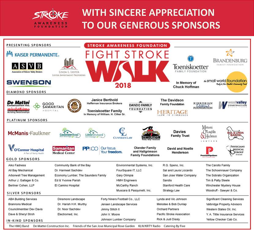 Fight Stroke Walk Sponsors